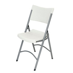 Blow Mold White Plastic Folding Chair with Gray Frame
