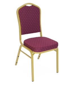Crown Back Banquet Chair - Burgundy Fabric Gold Dot Pattern - Gold Frame