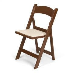 Brown Resin Folding Chair with Ivory Pad
