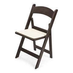 Dark Brown Resin Folding Chair with Ivory Pad